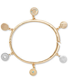 Lucky Brant Two-Tone Celestial Theme Charm Bangle Bracelet