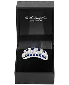 EFFY® 3-Piece Set Sapphire (9/10 ct. t.w.) & Diamond (9/10 ct. t.w.) Stackable Rings in 14k White Gold
