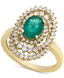 Emerald (1 ct. t.w.) & Diamond (3/4 ct. t.w.) Spiral Statement Ring in 14k Gold