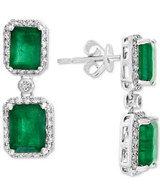 EFFY® Emerald (4-3/4 ct. t.w.) & Diamond (3/8 ct. t.w.) Drop Earrings in 14k White Gold