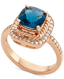 Blue Topaz (2-3/8 ct. t.w.) & Diamond (1/3 ct. t.w.) in 14k Rose Gold