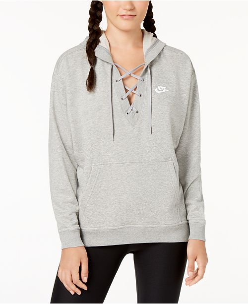 dc67cdaa7099 Nike Sportswear French Terry Lace-Up Hoodie   Reviews - Tops - Women ...