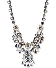 "Marchesa Gold-Tone Crystal, Stone & Imitation Pearl Statement Necklace, 16"" + 1"" extender"