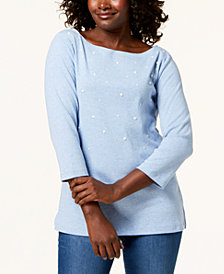 Karen Scott 3/4-Sleeve Pearl-Embellished Top, Created for Macy's