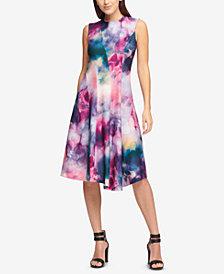 DKNY Watercolor-Print Asymmetrical Scuba Dress, Created for Macy's