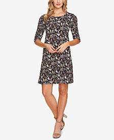 CeCe Floral-Print Puffed-Sleeve Dress