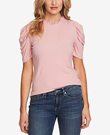 CeCe Ruffled Ruched-Sleeve Top