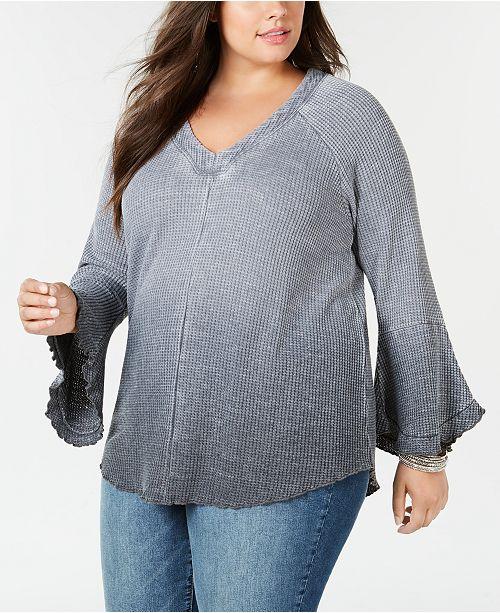 Seven7 Jeans Seven7 Trendy Plus Size Ombré Waffle-Knit Top