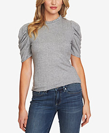 CeCe Ruched-Sleeve Mock-Neck Top