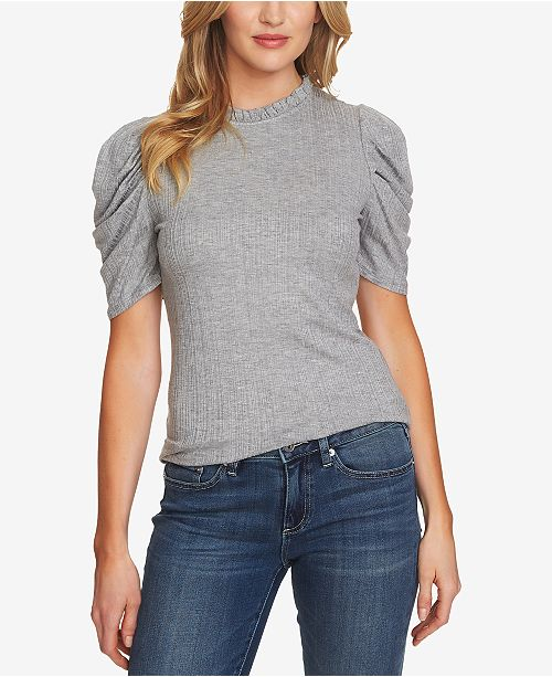 Neck Mock Heather Top Grey Ruched CeCe Sleeve gqUwSf