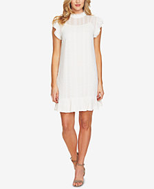 CeCe Embroidered Ruffled Shift Dress