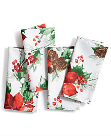 Bardwil Christmas Watercolor Poinsettia 4-Pc Napkin Set