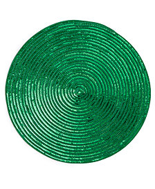 "Elrene Sparkle Motion Sequin Green 15"" Round Placemat"