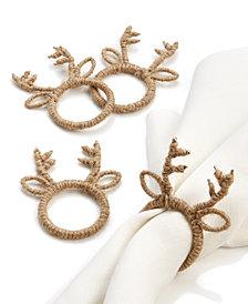 Leila's Linens Reindeer 4-Pc. Jute Napkin Ring Set