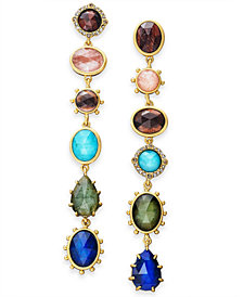 kate spade new york Gold-Tone Multi-Stone Linear Drop Earrings