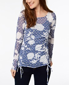 I.N.C. Ruched Front Tie Top, Created for Macy's
