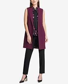 DKNY Ruffled-Back Long Vest