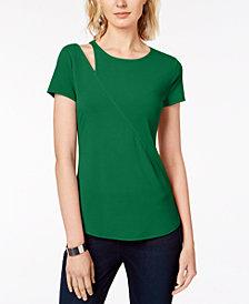I.N.C. Cutout-Shoulder T-Shirt, Created for Macy's