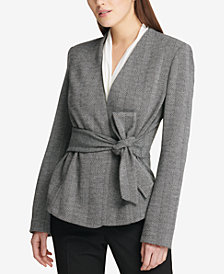 DKNY Herringbone Tie-Front Jacket, Created for Macy's