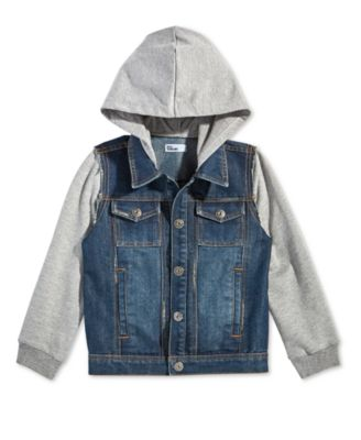 Little Boys Layered-Look Hooded Denim Jacket, Created for Macy's