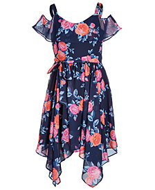 Us Angels Big Girls Floral-Print Handkerchief-Hem Dress
