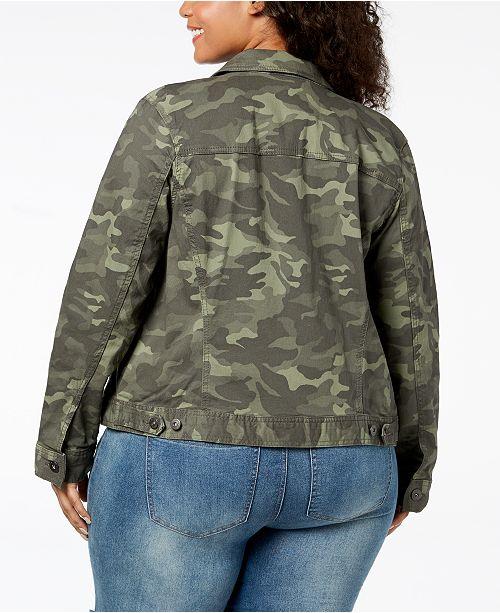 35f2a2e8deec7 Style   Co Plus Size Cotton Camo Demin Jacket