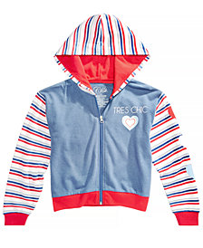 Awake Big Girls Striped Zip-Up Hoodie