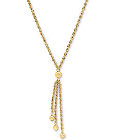 "Rope & Bead 17"" Lariat Necklace in 10k Gold"