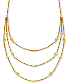"Fancy Bead Three-Row Statement Necklace 18"" in 10k Gold"