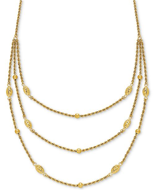 """Macy's Fancy Bead Three-Row Statement Necklace 18"""" in 10k Gold"""