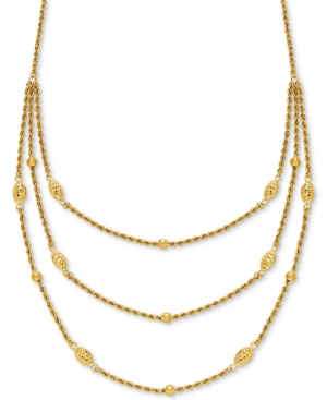 "Fancy Bead Three-Row Statement Necklace 18"" in 10k Gold -  Macy's"
