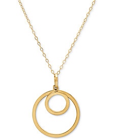 "Double Circle 18"" Pendant Necklace in 10k Gold"