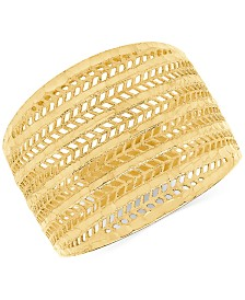 Wide Mesh Statement Ring in 10k Gold