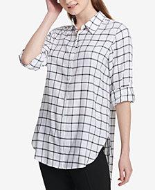 Calvin Klein Windowpane High-Low Shirt