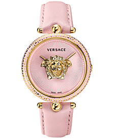 Versace Women's Swiss Palazzo Empire Pink Leather Strap Watch 39mm