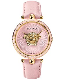Versace Women's Swiss Palazzo Empire Pink Leather Strap Watch 39mm