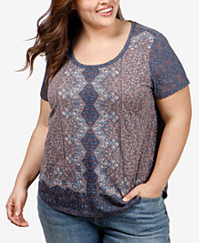 Lucky Brand Trendy Plus Size Printed T-Shirt