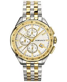 Versace Men's Swiss Glaze Two-Tone Stainless Steel Bracelet Watch 44mm