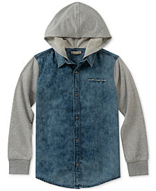 Calvin Klein Big Boys Hooded Cotton Shirt