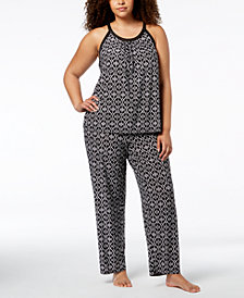 I.N.C. Plus Size Printed Satin-Trim Pajama Set, Created for Macy's