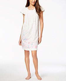 Charter Club Cotton Short Printed Nightgown, Created for Macy's