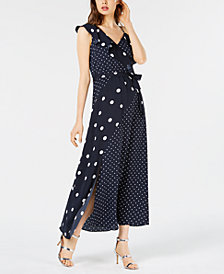 Bar III Mixed Dot-Print Maxi Dress, Created for Macy's