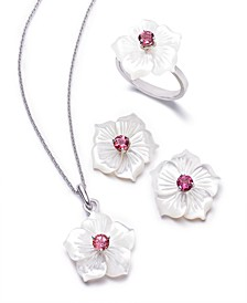 of Pearl & Pink Tourmaline Flower Jewelry Collection in Sterling Silver
