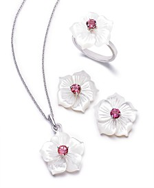 Mother of Pearl & Pink Tourmaline Flower Jewelry Collection in Sterling Silver