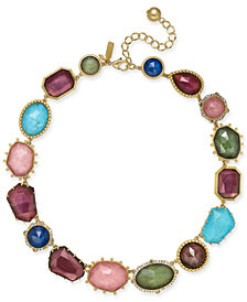 "kate spade new york Gold-Tone Multi-Stone Collar Necklace, 17"" + 3"" extender"