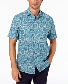 Tasso Elba Men's Linen Tiled Shirt, Created for Macy's