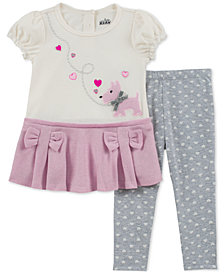 Kids Headquarters Baby Girls 2-Pc. Puppy & Bow Tunic & Leggings Set