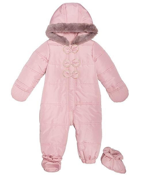 a0e4b6eb4 First Impressions Baby Girls Hooded Bows Footed Snowsuit, Created for Macy's  ...