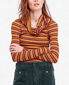 Free People Cape Cod Cowl-Neck Striped Thermal Top