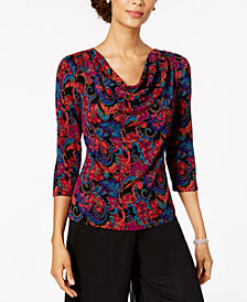 MSK Printed Cowl-Neck Top